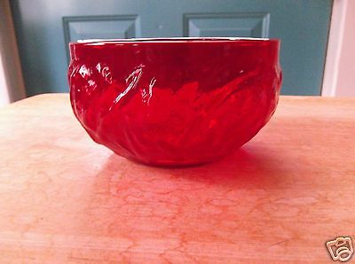 Small Red Glass Candy Dish with Bumpy Exterior