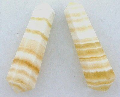 TWO Natural 1 Inch Banded Golden White Jade Double Point Crystal Gem Gemstone