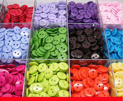 100Pcs 11MM DIY 2 Holes Round Resin Buttons Scrapbooking Sewing Craft 20 Colors