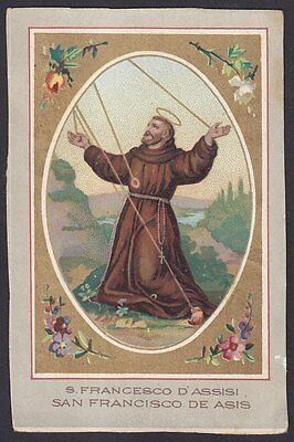 SAN FRANCESCO D'ASSISI 05 SANTINO HOLY CARD IMMAGINETTA RELIGIOSA - fine 1800