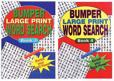 Set 2 Large Print A4 Bumper Adult Wordsearch Books 160 Pages Each Series 2085