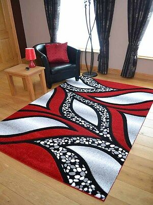New Thick Modern Red Silver Grey Carved Floor Carpets Large Hall Rugs Mat Runner