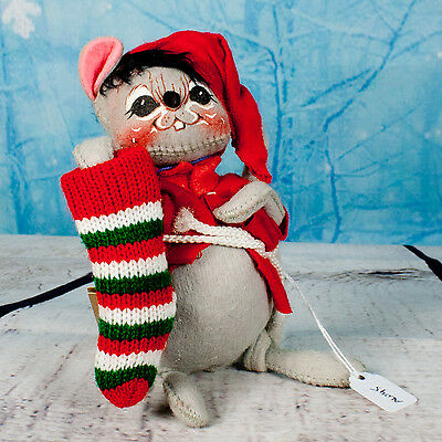 """Annalee Christmas Doll 7"""" Mouse w/ Green & Red Stocking - Dated 1991"""