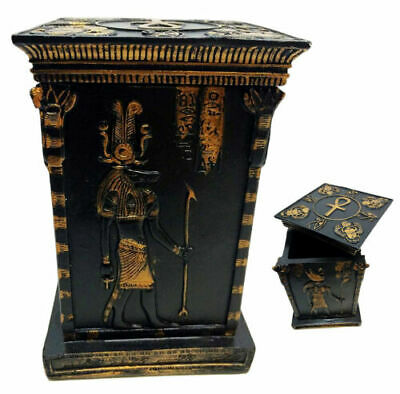 "Egyptian Gods & Deities Horus Isis Osiris Scarab Tower Jewelry Box Figurine 5""H"