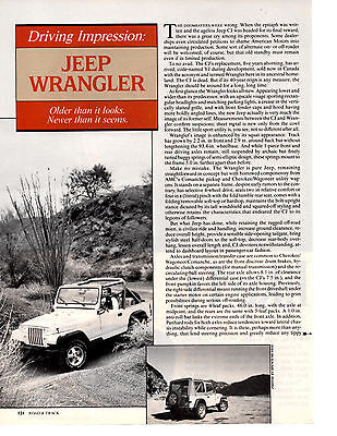 1986 JEEP WRANGLER  ~  GREAT ORIGINAL 2-PAGE ARTICLE / AD
