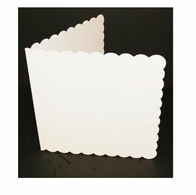 """50 x 6"""" x 6"""" WHITE SCALLOPED BLANK CARDS & ENVELOPES CARD MAKING CRAFT 836"""