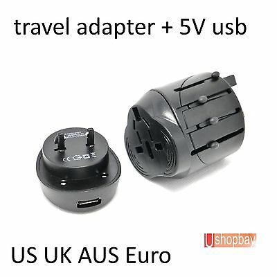 Travel Power Charger Universal Adapter Plug AU UK EU US With USB port