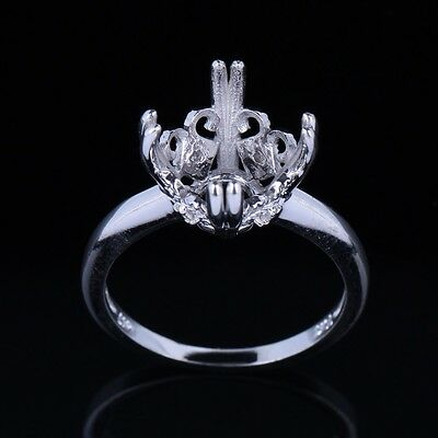 Silver 925 Plated Gold Engagement Diamond Flower Head Semi Mount Ring ROUND 11MM