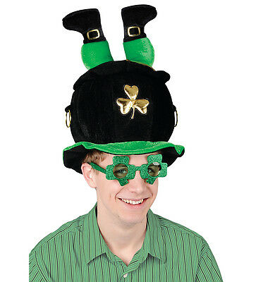 St. Patrick's Day Pot of Gold Hat leprechaun and Shamrock Glasses  8518G