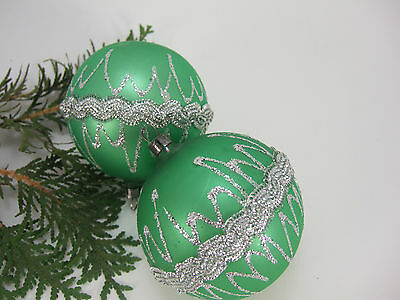2 Large Vintage Green Braided Mica Mercury Glass Christmas Ornament-Germany