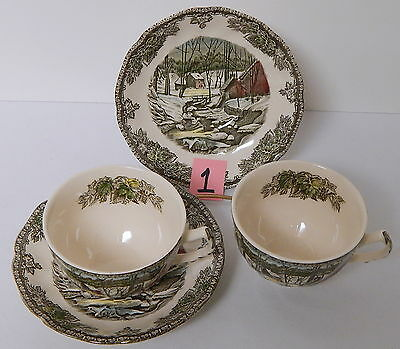 Johnson Brothers Friendly Village Set of 2 Cups and Saucers Lot #1
