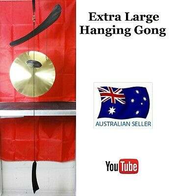 Large Hanging Chinese Dinner & Decorative Brass Gong With Wooden Stand  Wl34