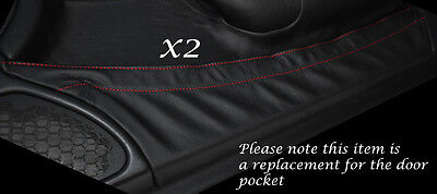 Red Stitch 2X Door Pocket Leather Covers Fits Mercedes Slk R170 1996-2004