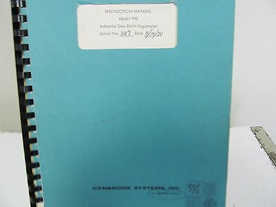 Cambridge Systems 992 Industrial Dew Point Hygrometer Operations/Service Manual
