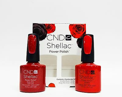 CND Shellac Gel Polish Red Glitter Ruby Ritz & Wildfire Combo 2ct/pk @@SALE@@