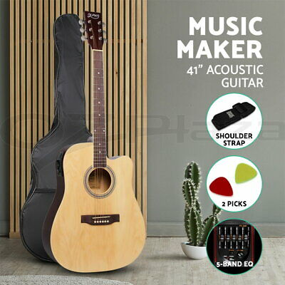 "41"" Inch Electric Acoustic Guitar Wooden Classical D Shape Full Size Amp Natural"