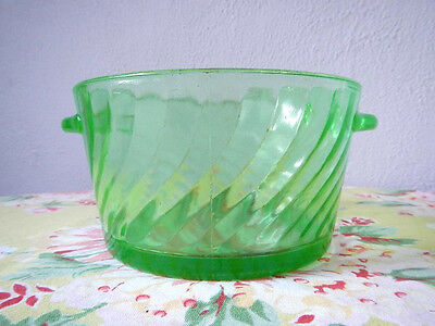 Anchor Hocking Green Depression Glass Spiral Ice Bowl or Butter Tub Tab Handles