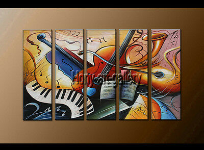 Large Modern Abstract musical oil painting Wall Art Canvas Framed Handmade F8162