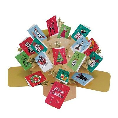 Merry Christmas Petite Pop-Up Greeting Card Second Nature 3D Pop Up Mini Cards