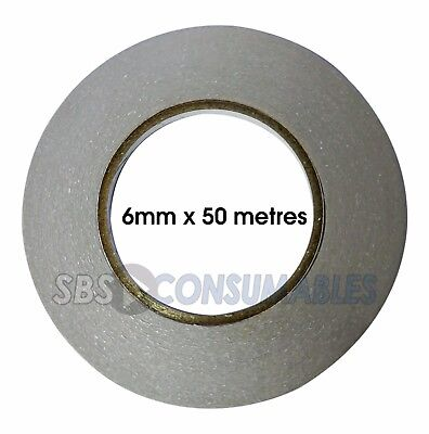 2 Rolls of Double Sided Tape - 6mm x 50 metres. Self Adhesive, Sticky Craft Tape