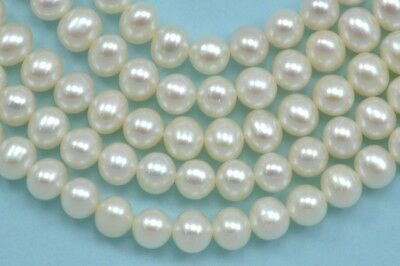 6-7mm Ivory White Near Round Rondelle Freshwater Pearls Beads A