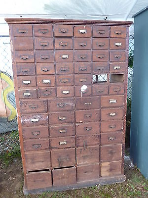 """EARLY 20th century HARDWARE store cabinet MULTI draw ~ 73"""" x 49"""" x 18"""" NY state"""