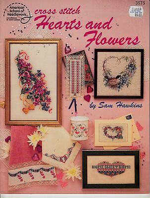 AMERICAN SCHOOL OF NEEDLEWORK HEARS AND FLOWERS COUNTED CROSS STITCH PATTERN