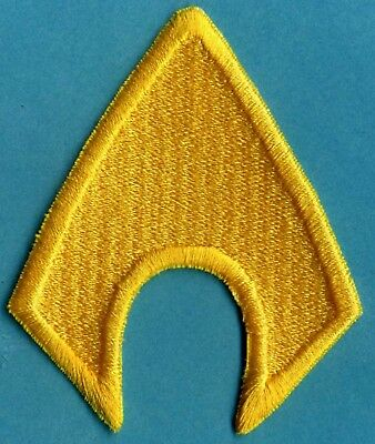 "AQUAMAN  4"" x 3.25"" Fully Embroidered Yellow Insignia Iron-On Patch"