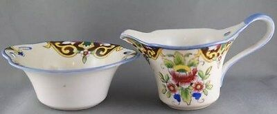 Vintage Hand Painted Floral Noritake M mark Cream and Sugar Old
