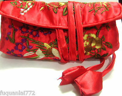 Silk Embroidered Jewelry Travel Bag Roll Case Pouch Carrying Brocade Fabric New