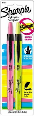 Sharpie Accent Pen-Style Retractable Highlighters, Yellow & Pink Ink, Pack of 2