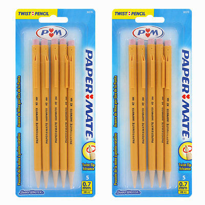 Paper Mate SharpWriter Mechanical Pencils, 0.7 mm, #2 HB, Yellow, Pack of 10