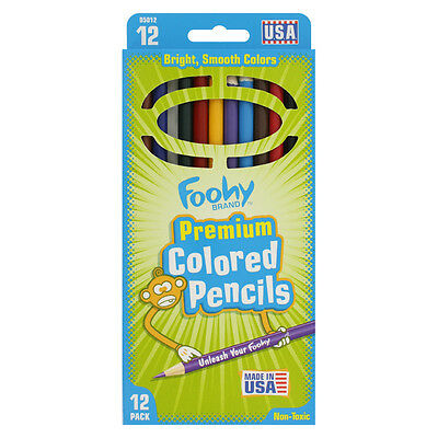 Foohy Premium Wood Non-Toxic Colored Pencils, Assorted Colors, 12/Pack