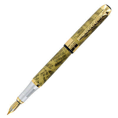 JinHao 250 Golden Yellow Blend Gold Trim Fountain Pen - Medium