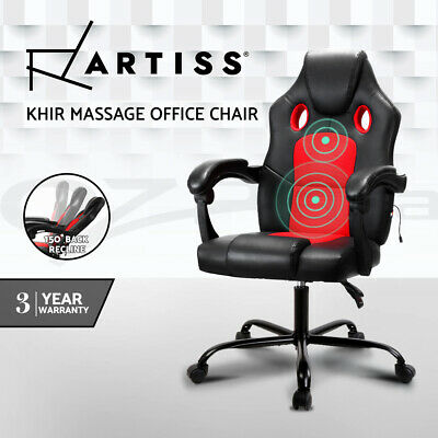 8 Point Massage Executive Office Computer Chair Heated Recliner PU Leather BK RD