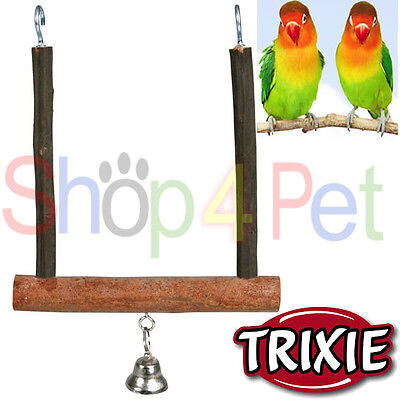 Bird Cage Swing Trixie Natural Swinging Trapeze With Bell Budgie Canary Pet