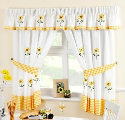Sunflower Yellow & White Voile Cafe Net Curtain Panel Kitchen Curtains