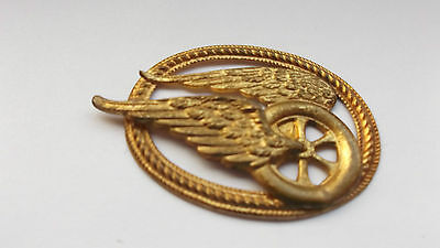 early 1900`s railway cap badge     winged wheel in oval