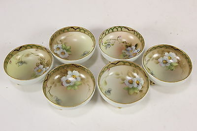 """6 Nippon Hand Painted Salt Dips Small Footed Nut Bowls Matching Set 2 3/4"""" Diam"""