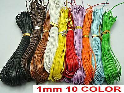 100 Meters Mixed Color Waxed Cotton Beading Cord 1mm for Bracelet 10 Strands