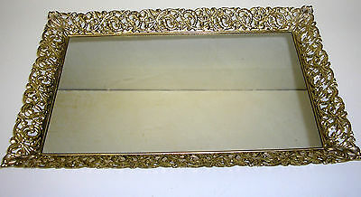 Large Gold Tone Filigree Mirror Vanity Tray