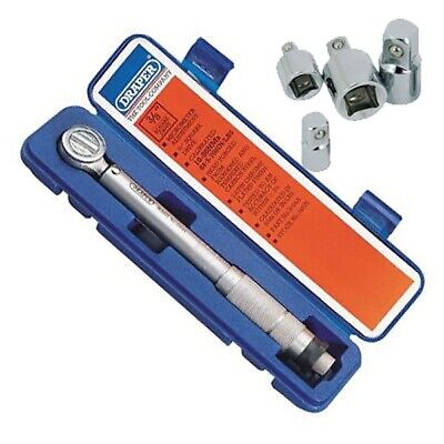 "Draper 3/8"" Dr Ratchet Torque Wrench + Case + Certificate + 4Pc Adaptors"