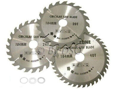 3Pc 184Mm Tct Circular Saw Blades 20, 24 & 40 Teeth +  Adapter O Rings 185Mm
