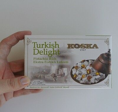 TRADITIONAL TURKISH DELIGHT Double Pistachio by KOSKA, 125 g, Dessert Snack