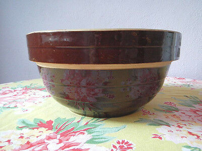Old Vintage Yelloware Yellow Ware Pottery Mixing Bowl Brown Glaze Ribbed USA 9""