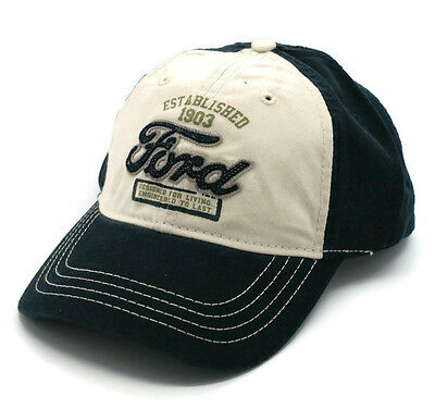 HAT - FORD Est 1903 Applique Adjustable Ball Cap Navy & Tan FREE SHIPPING