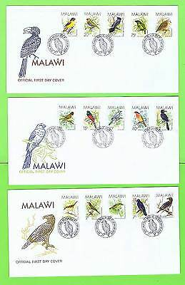 Malawi 1988 Birds definitives to 4k on three First Day Covers
