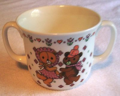 "VINTAGE SANGO  ""DANCING BEARS"" CHILDS 2 HANDLED BONE CHINA CUP FROM KOREA"