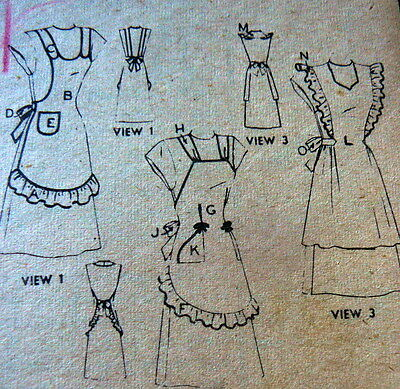 LOVELY VTG 1940s 3 APRONS Sewing Pattern
