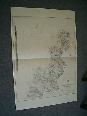 Vintage Admiralty Chart 197 ST. LUCIA - - MARIGOT HARBOUR to POINTE DU CAP 1915